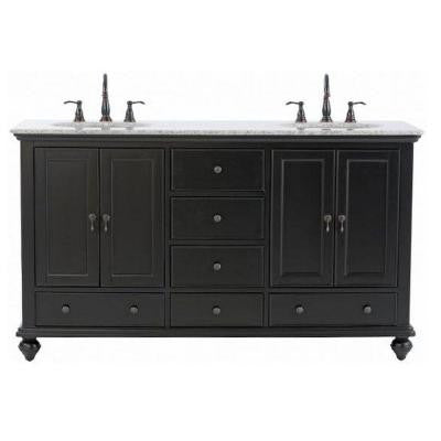Newport 61 in. Vanity in Black with Granite Vanity Top in Gray and Under-Mount Sink