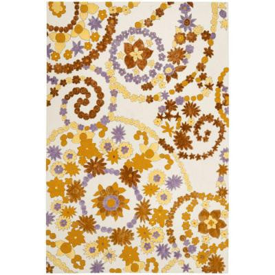 Wilton Ivory/Brown 4 ft. x 6 ft. Area Rug