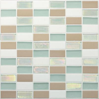 Coastal Keystones Trade Wind 12 in. x 12 in. x 6 mm Glass Mosaic Floor and Wall Tile