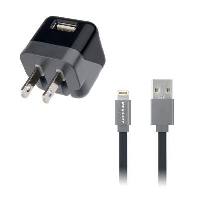Universal USB Wall Charger + 5FT Apple-Certified Lightning Cable - Black