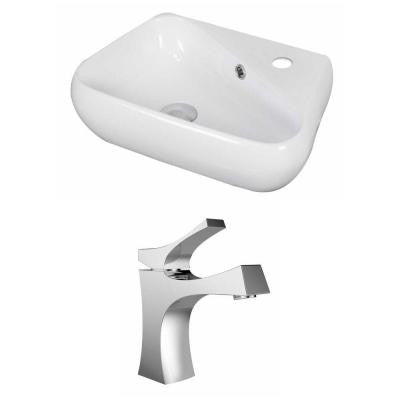19-in. W x 11-in. D Unique Vessel Sink Set In White Color With Single Hole CUPC Faucet
