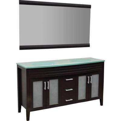 Cynthia 60 in. Double Vanity in Espresso with Glass Vanity Top in Aqua