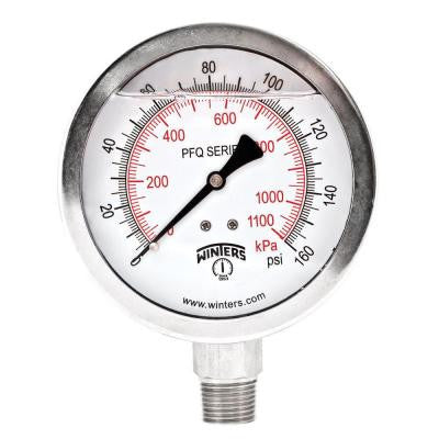 PFQ Series 4 in. Stainless Steel Liquid Filled Case Pressure Gauge with 1/2 in. NPT LM and Range of 0-160 psi/kPa