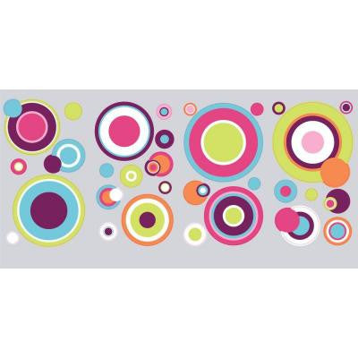 10 in. x 18 in. Crazy Dots 31-Piece Peel and Stick Wall Decals