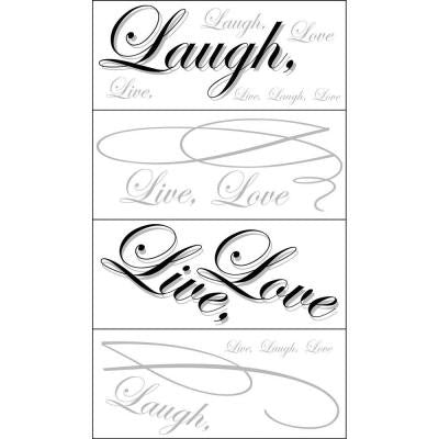 4 Sheets Black And Grey Live,Love,Laugh Wall Art