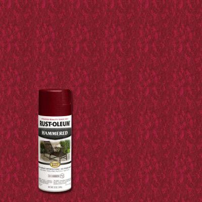 12 oz. Protective Enamel Hammered Bright Red Spray Paint (6-Pack)