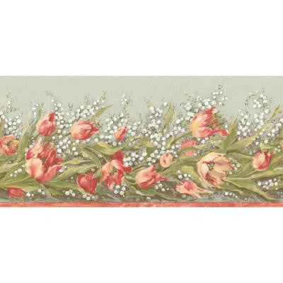 9.75 in. x 15 ft. Orange and Green Earth Tone Floral Trail Border