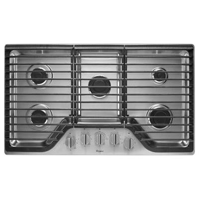 36 in. Gas Cooktop in Stainless Steel with 5 Burners including 15000-BTU SpeedHeat Burner