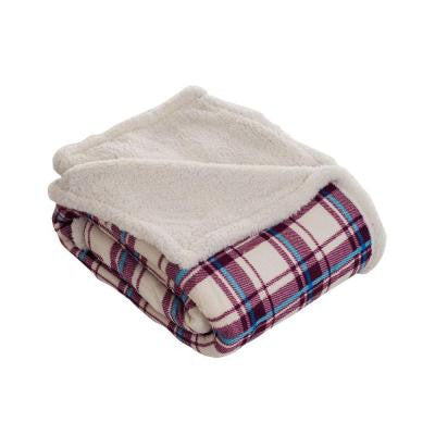 Plaid Fleece Sherpa Polyester Throw Blanket