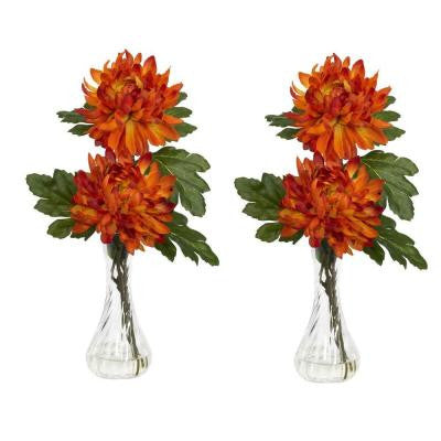 12.5 in. H Orange Mum with Bud Vase Silk Flower Arrangement (Set of 2)