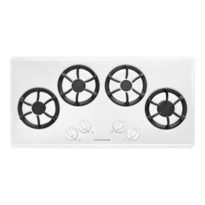 36 in. Recessed Gas Cooktop in White with 4 Burners