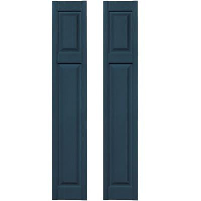 12 in. x 67 in. Cottage Style Raised Panel Vinyl Exterior Shutters Pair in #036 Classic Blue