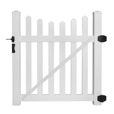 Helena 4 ft. x 4 ft. Vinyl Picket Fence Gate EZ Pack