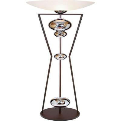 Century 70 in. Chrome and Espresso Torchiere Lamp