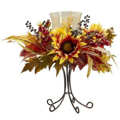 16 in. H Yellow Sunflower Candelabrum