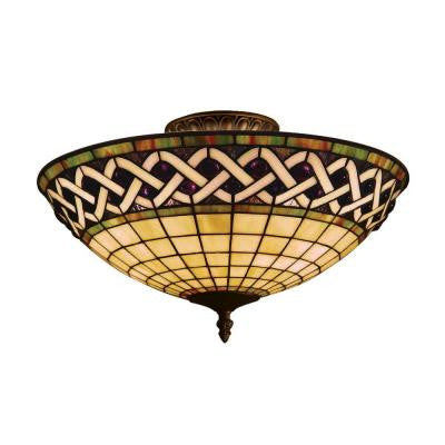 Angel Wing 16 in. 3-Light Classic Bronze Semi Flush Mount