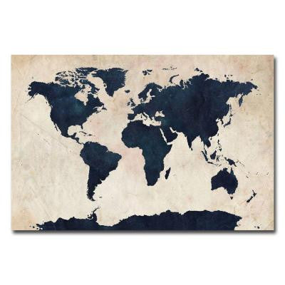 16 in. x 24 in. World Map - Navy Canvas Art
