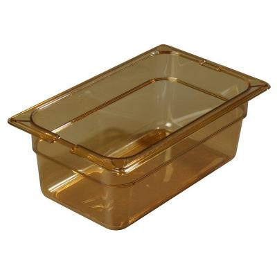 1/3 Size, 5.70 qt., 6 in. D High Heat Plastic Food Pan in Amber, Lid not Included (Case of 6)