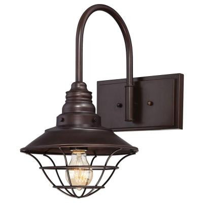 1-Light Interior Oil Rubbed Bronze Wall Fixture with Metal Lantern Shade