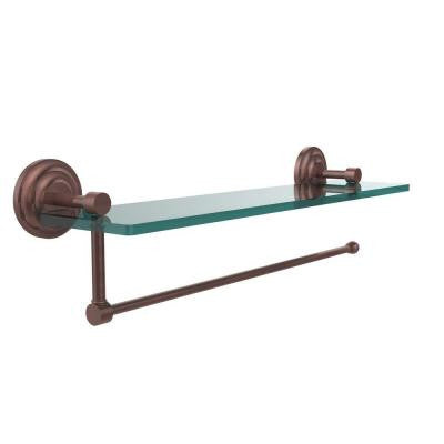 Prestige Que New Collection Paper Towel Holder with 16 in. W Glass Shelf in Antique Copper