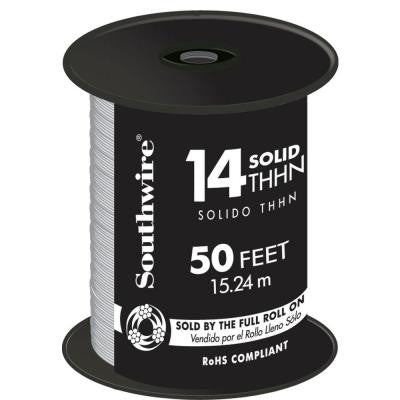 50 ft. 14/1 Solid THHN Wire - White