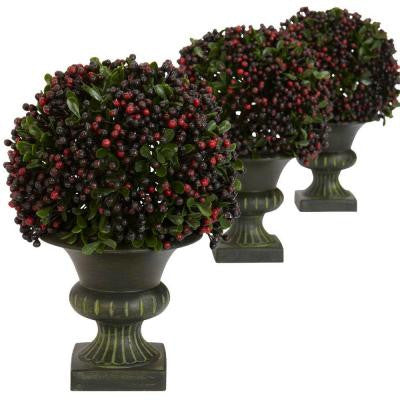 8.5 in. H Green Pepper Berry Ball Topiary (Set of 3)