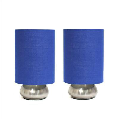 Gemini 9 in. Two (2) Pack Mini Touch Lamp with Brushed Nickel Base and Blue Fabric Shades