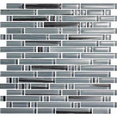 Brushstrokes Peltro-1505-S Strips Mosaic Glass 12 in. x 12 in. Mesh Mounted Tile (5 sq. ft. / case)