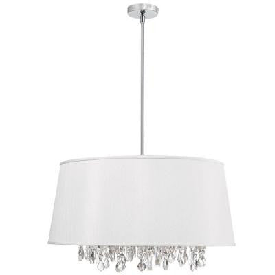 Phylis 8-Light Polished Chrome Chandelier with White Fabric Shades