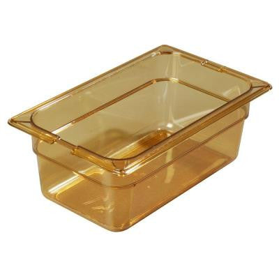 1/3 Size, 3.80 qt., 4 in. D High Heat Plastic Food Pan in Amber, Lid not Included (Case of 6)