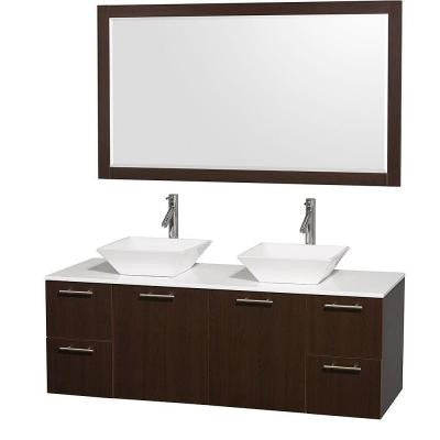 Amare 60 in. Double Vanity in Espresso with Man Made Stone Vanity Top in White and Porcelain Sink