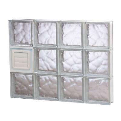 31 in. x 23.25 in. x 3.125 in. Wave Pattern Glass Block Window with Dryer Vent