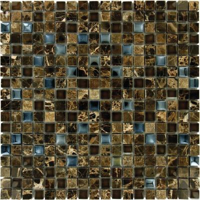 Emperador 12 in. x 12 in. x 8 mm Glass Stone Mesh-Mounted Mosaic Tile (10 sq. ft. / case)