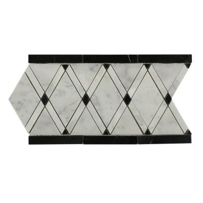 Grand Pavo Carrera Blend 11 in. x 12 in. x 10 mm Polished Marble Mosaic Tile