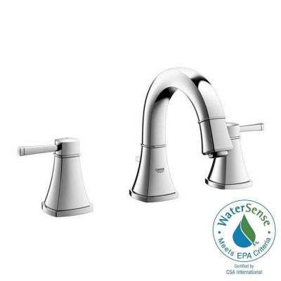 Grandera Deck-Mount 2-Handle Low Arc Bathroom Faucet in StarLight Chrome