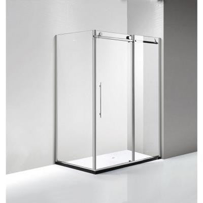 60 in. x 79 in. Luxury Frameless Sliding Shower Door in Stainless Steel