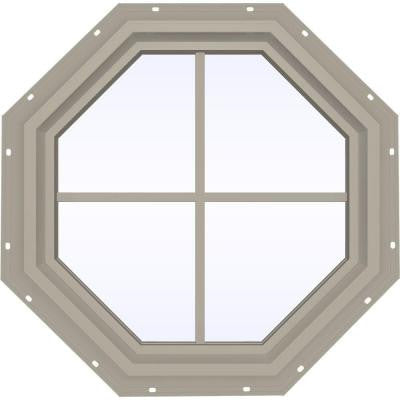23.5 in. x 23.5 in. V-4500 Series Fixed Octagon Vinyl Window with Grids - Tan