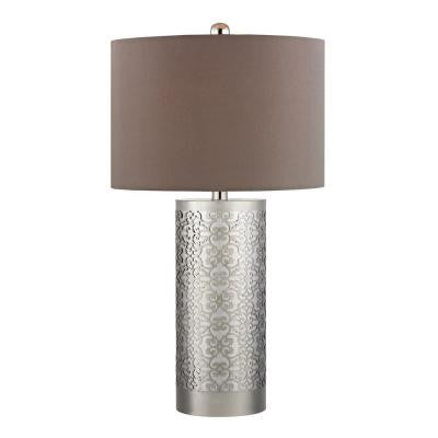 Metal Filigree 31 in. Polished Nickel Table Lamp with Shade