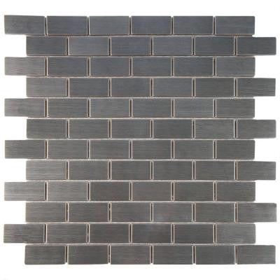 Meta Standard Subway 11-3/4 in. x 11-3/4 in. x 8 mm Stainless Steel Over Porcelain Mosaic Wall Tile