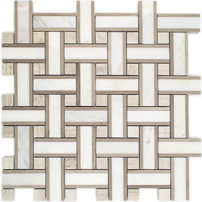Yarn Jute Polished Marble Tile - 3 in. x 6 in. Tile Sample