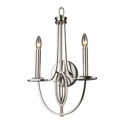 Dione 2-Light Polished Nickel Sconce