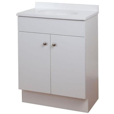 24-1/2 in. W Vanity in White with Vanity Top in White