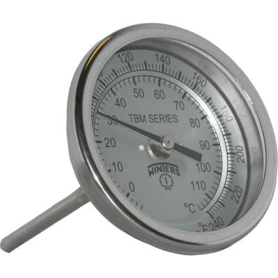 TBM Series 3 in. Dial Thermometer with Fixed Center Back Connection and 4 in. Stem with Range of 20-240°F/C