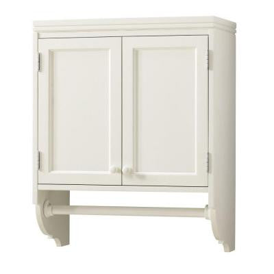 30 in. H x 24 in. W Laundry Storage Wall-Mounted Cabinet with Clothing Rod in Picket Fence