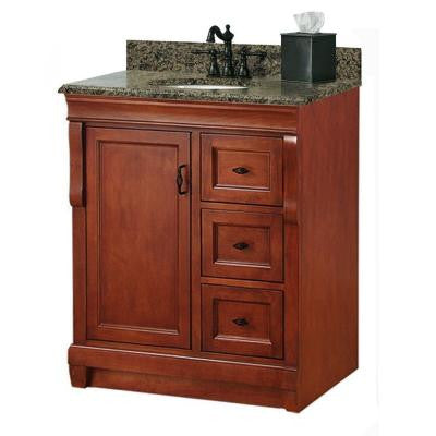 Naples 31 in. W x 22 in. D Vanity with Right Drawers in Warm Cinnamon with Granite Vanity Top in Quadro