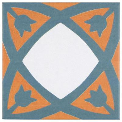 Revival Tulip 7-3/4 in. x 7-3/4 in. Ceramic Floor and Wall Tile