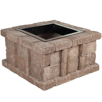 38.5 in. x 21 in. Rumblestone Square Fire Pit Kit in Cafe