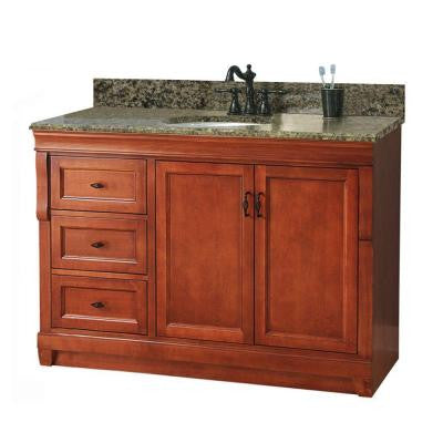 Naples 49 in. W x 22 in. D Vanity with Left Drawers in Warm Cinnamon with Granite Vanity Top in Quadro