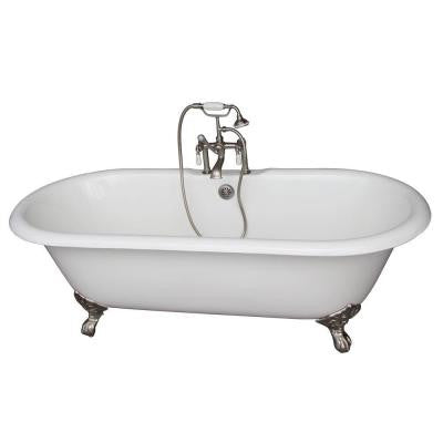 5.6 ft. Cast Iron Imperial Feet Double Roll Top Tub in White with Brushed Nickel Accessories