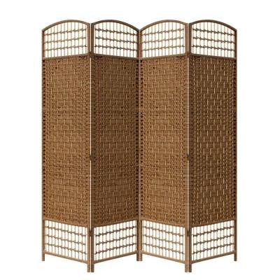 66.75 in. x 0.75 in. 4-Panel Paper Straw Weave Screen on 2 in. Legs Handcrafter Room Divider in Brown